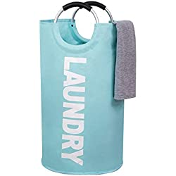 Large Laundry Basket Collapsible Fabric Laundry Hamper Tall Foldable Laundry Bag Handles Waterproof Portable Washing Bin Folding Clothes Bag Travel Shopping Bathroom College (Light Blue,L)