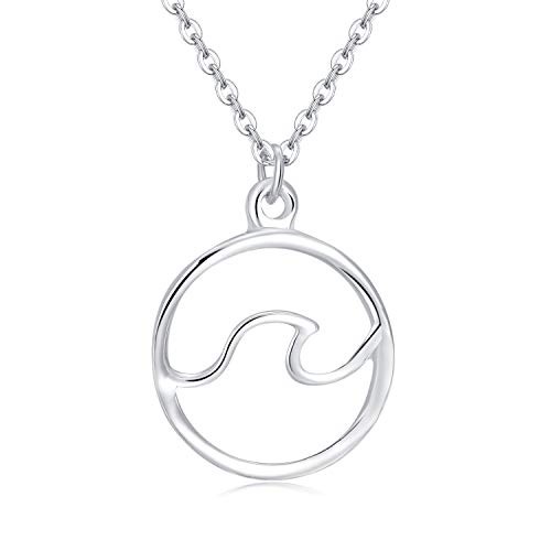 Rosa Vila Ocean Wave Necklace, Ocean Jewelry for Women, Ocean Necklace, Beachy Necklaces, Beach Necklace for Women in Silver Or Rose Gold Tone (Silver Tone)