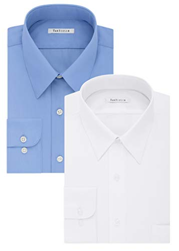 Collar Point White (Van Heusen Big and Tall Mens Dress Shirts Tall Fit Poplin Point Collar, White/Cameo Blue, 20