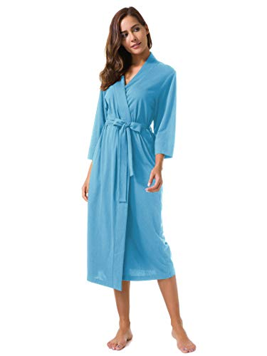 SIORO Women's Kimono Robes Cotton Lightweight Robe Long Knit Bathrobe Soft Nightgowns Sleepwear V-Neck Ladies Nightwear Cyan Blue Plus Size - Nightgown Length Tea