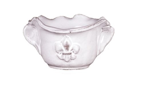 Abigails Fleur De Lis White Two Handle Bowl
