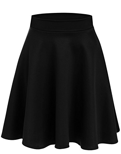 Simlu Womens Skater Skirt, A Line Flared Skirt Reg & Plus Size Skater Skirts USA (Size Small, Black - Midi)