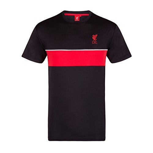 Liverpool Soccer T-shirts - Liverpool FC Official Gift Mens Poly Training Kit T-Shirt Black LFC XL