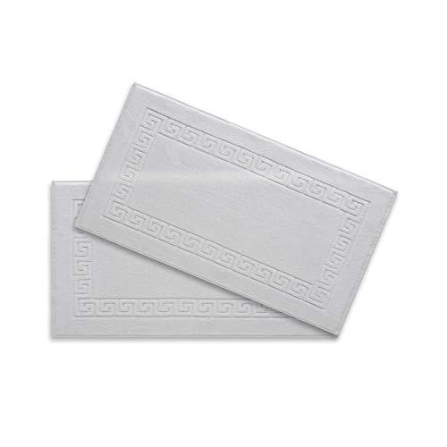 White Slipper Tub - Super Soft Low Twist 6 pcs,Eco Friendly, Turkish Cotton, Bathroom Towel Set,with Free SPA Slippers,Machine Washable,Plush & Fluffy, Absorbent,Luxury Hotel & Spa Quality (Bath Mat-Set of 2, White)