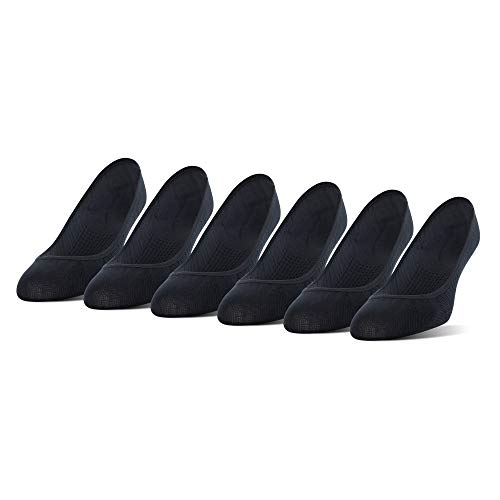 PEDS Women's Massaging Sole No Show Liner Socks with Gel Tab, 6-Pack, Black, Shoe Size: 5-10