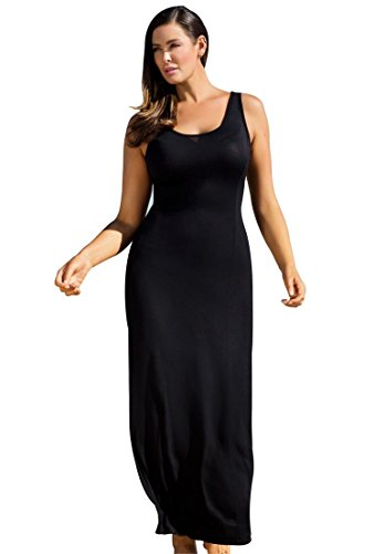 Roamans Women's Plus Size Maxi Dress Coverup Black,18/20