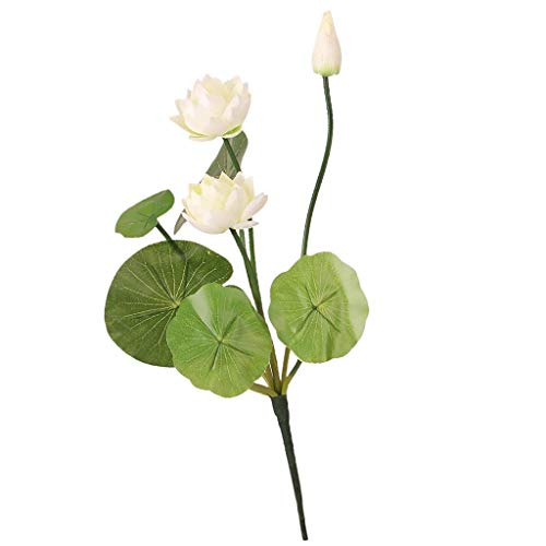 BABYHYY 2 Piece Faux Flower Waterlily Artificial Lotus Green stem Flower Arrangement - White, 46cm