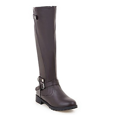 RTRY Women's Shoes PU Leatherette Fall Winter Comfort Novelty Fashion Boots Boots Chunky Heel Round Toe Knee High Boots Zipper For Party & US5 / EU35 / UK3 / CN34 Rbjyo