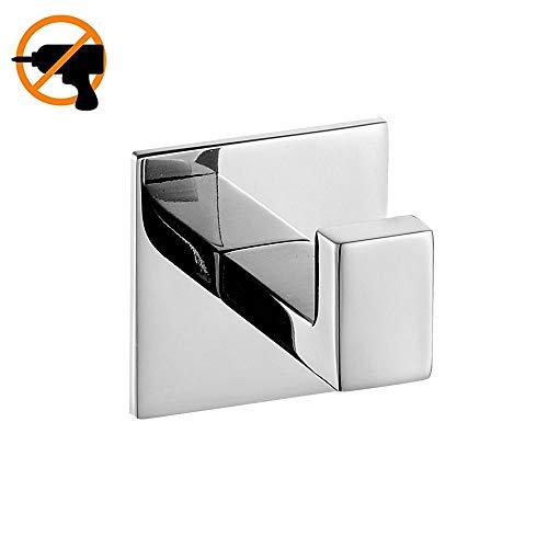 Melairy Self Adhesive 304 Stainless Steel Bathroom Square Towel Hook Sliver Chrome Finish Coat Hat Door Hook Hanger Bathroom Accessories,No Screw Need ()