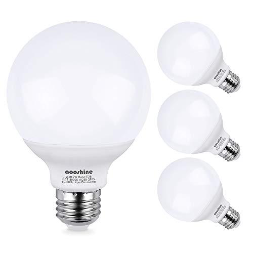 G25 LED Bulb, Aooshine 70W Incandescent Bulb Equivalent Daylight White 5000K 7 Watts E26 Base Globe Vanity Makeup Mirror Lights Bulb, Non-dimmable(Pack of -