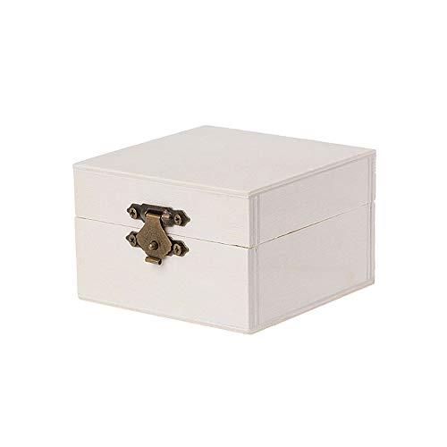 Youlaify - Caja de Madera Redonda Cuadrada con Tapa con bisagras y Cierre Frontal para Bricolaje, joyería para Regalo,...