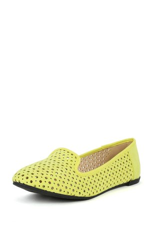 Qupid Salya-719 Perforerte Loafers Sitron Lime 9
