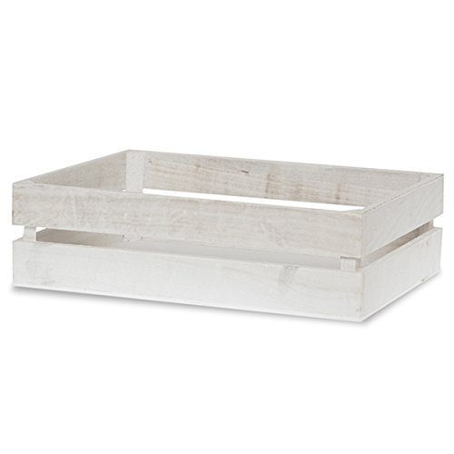 The Lucky Clover Trading Two Slat Wood Crate, Rectangular, Worn White
