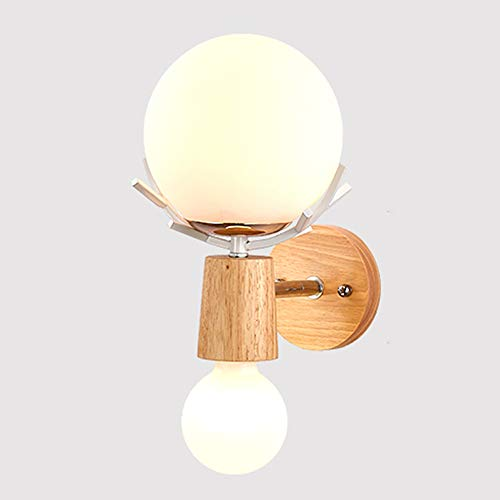 VinDeng Globes Glass Wall Sconce, E26 Antlers Wall lamp Creative Wood Metal 2-Lights Wall Light for Bedroom Living Room Hallway 16x23cm-White