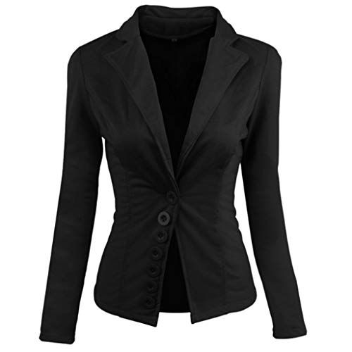 UONQD Women Coat Casual Slim Suit Blazer Top Ladies Jacket Outwear Tops (Medium,Black)