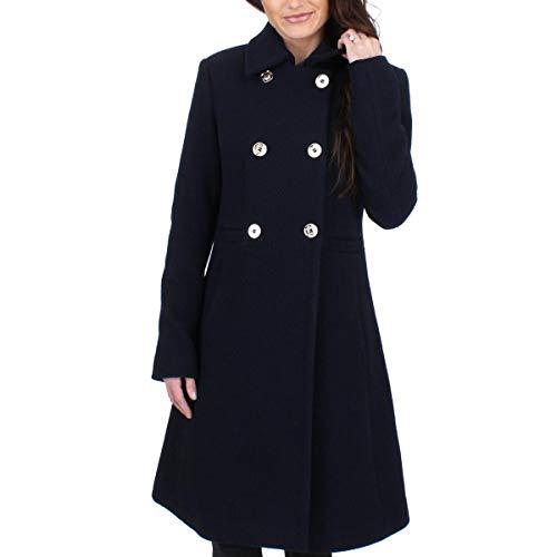 Ivanka Trump Womens Textured Collar Wool Navy 2 One Size