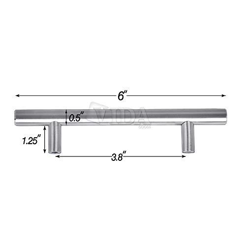 Vidagoods 25 Pack Set Modern European Style Brushed Solid Stainless Steel Kitchen Cabinet T Bar Pulls Handles Hardware (6