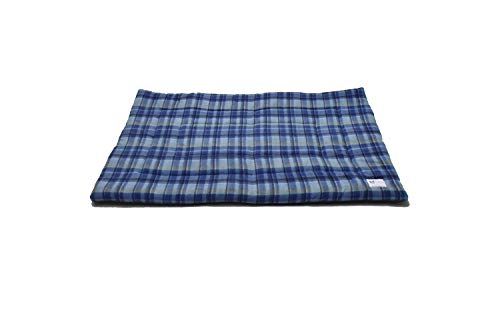 Pet Bed Mat (Small, Blue Plaid)