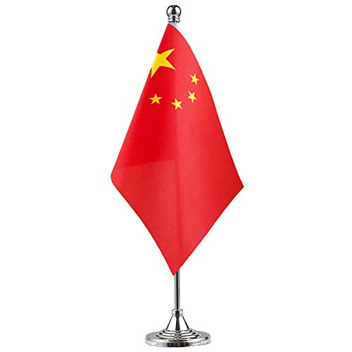 China Chinese  Stand Base Flag Table Desk Flag ,Metal Stand and Base and Country Flag Banners,For Home Garden Office Decoration, Festival Celebrations.]()
