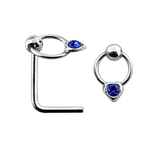 Dark Blue Jeweled Heart on Moving Ring Top 22 Gauge Silver L Shape - L Bend Nose Stud Nose Pin