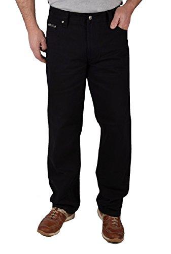 Herren Denim Jeanshose Straight Leg in Schwarz Regular Fit (38/32, Schwarz / dunkle Nähte)