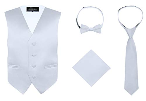 (S.H. Churchill & Co. Boy's 4 Piece Vest Set, with Bow Tie, Neck Tie & Pocket Hankie, Silver Size 14)