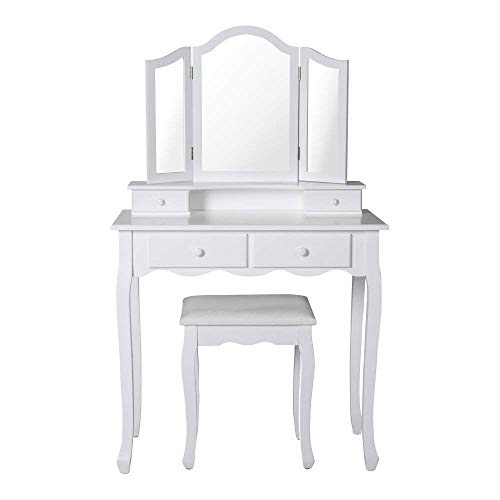 Peach Tree Vanity Table Set, Tri-Folding Mirror, 4 Drawers,Makeup Dressing Table with Cushioned Stool Easy Assembly, White ()