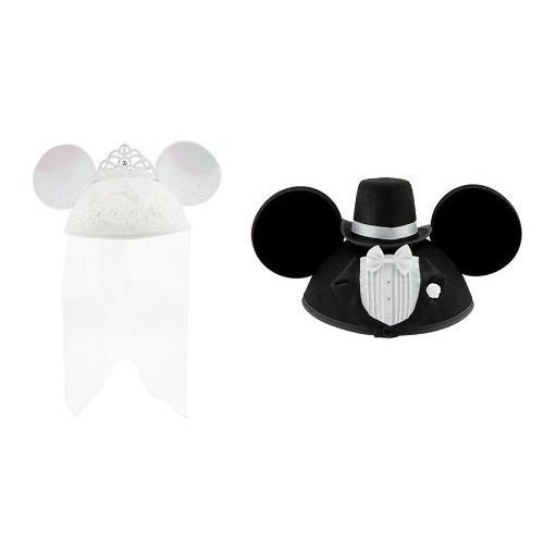 Disney Parks Exclusive Bride Minnie Mouse Groom Mickey Mouse Ear Hats Set -