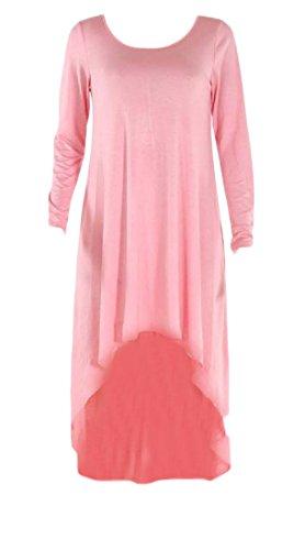 Coolred-femmes Ourlet Col Rond Irrégulière Robes De Soirée À Manches Longues Pink2