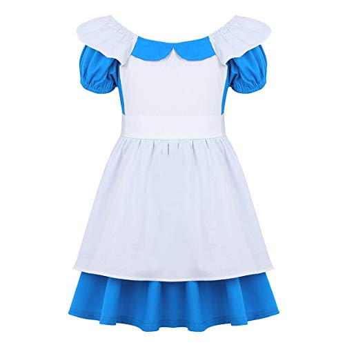 dPois Toddlers Kids Girls' Alice Princess Costume Halloween Birthday Party Cosplay Fairy Tale Tutu Dress Light Blue 12-18 Months