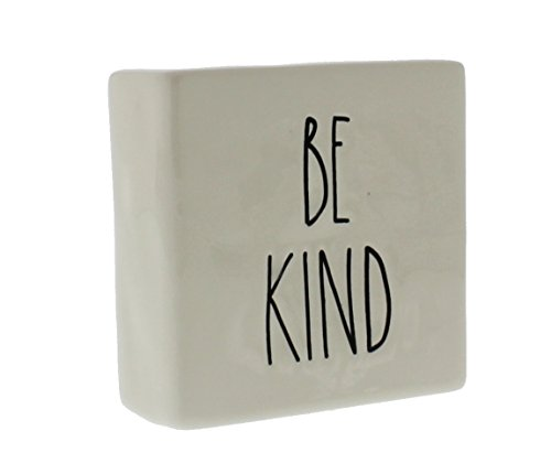 Rae Dunn by Magenta Ceramic Box Sign Desk Paperweight BE KIND/STAY HUMBLE ()