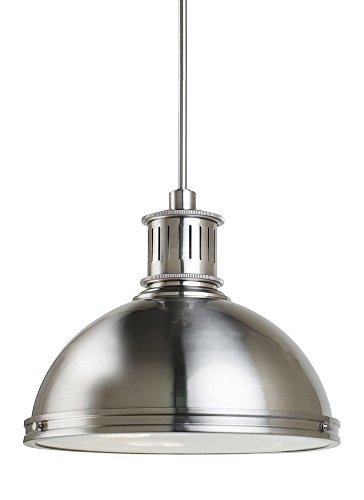 Sea Gull Lighting 65087-962 Pratt Street Metal Three-Light Pendant with Clear Textured Glass Diffuser, Brushed Nickel - Light Pendant Bowl Star Energy