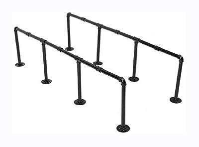 HomyDelight Other Accessory, 145cm Height Iron Pipe Shelf Retro Design Black Iron Pipe Wall Mount Shelf Shelving Tool