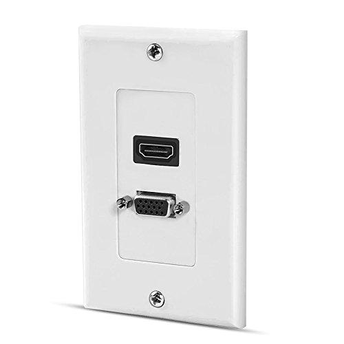 (HDMI VGA Wall Plates Pass Through Wall Outlet Video Socket Face Connector Plate Panel,White HDMI+VGA)