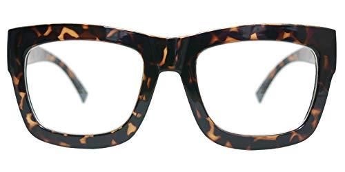 Vintage Inspired Geek Oversized Square Thick Horn Rimmed Eyeglasses Clear Lens (LEOPARD 30101, ()