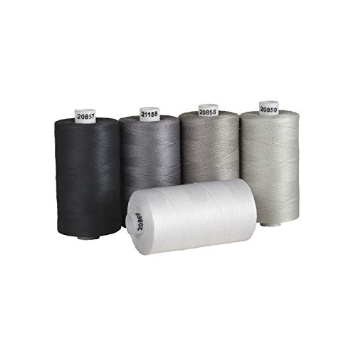 Connecting Threads 100% Cotton Thread Sets - 1200 Yard Spools (Salt & Pepper)