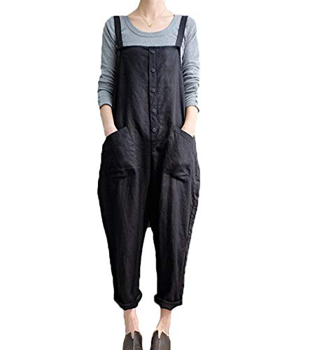 Women's Casual Jumpsuits Overalls Baggy Bib Pants Plus Size Wide Leg Rompers (Y-Black, L)