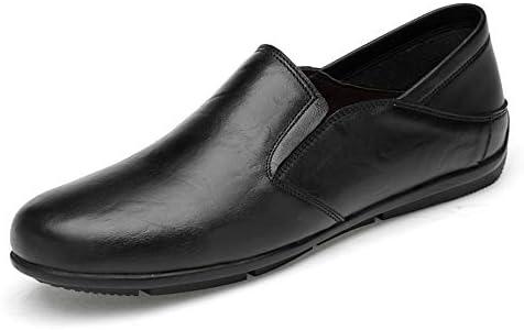 You Are Fashion 男性運転ファッションカジュアル男性ローファー高品質金属装飾アップリケ本物の本革の靴男フラット靴ソフト無地ラウンドつま先ボートモカシン (Color : ブラック, サイズ : 25.5 CM)