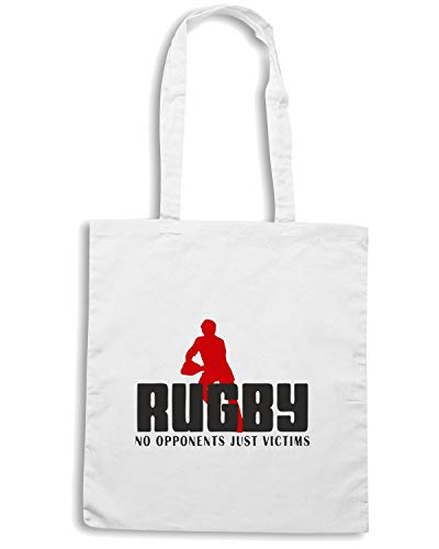 Speed Shirt Borsa Shopper Bianca TRUG0051 RUGBY NO OPPONENTS JUST VICTIMS