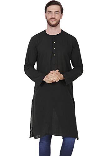 SKAVIJ Men's Tunic Cotton Long Kurta Shirt Regular Fit (Medium, Black)