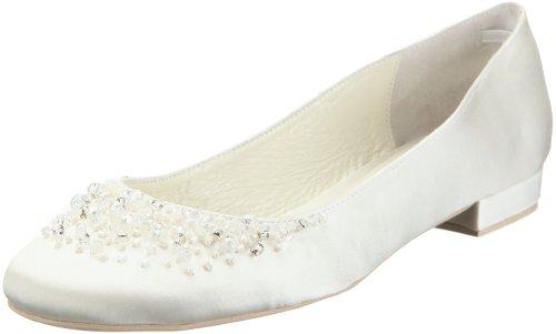 MENBUR Carmichael 04566 - Bailarinas de tela para mujer, Elfenbein (Ivory 04), 36