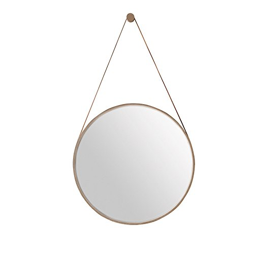 - Mirror Hotel Continental Iron Wall Round Bathroom Simple Makeup Round Bedroom Iron Hanging Faux Leather Suspender/4 Size Optional (Size : 40cm)
