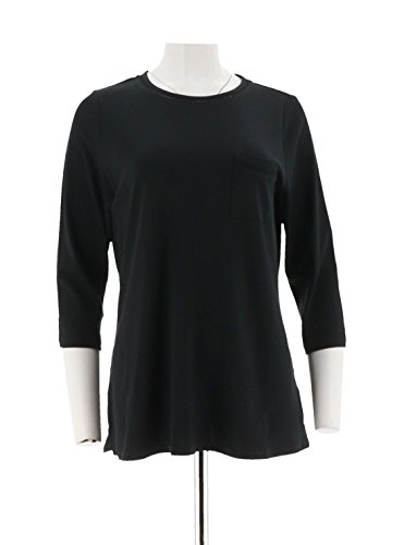 C. Wonder Essentials Pima Cotton 3/4 SLV Tunic Pocket A286433, Black, 2X (Pima Tunic Cotton)