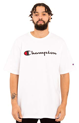 Large T-shirt Embroidered White - Champion LIFE Men's Heritage Tee, White W/Embroidered Script, Large