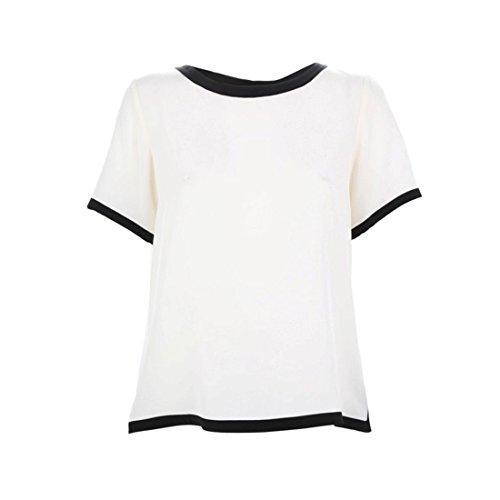 MaxMara Max Mara Women's Lambert Silk Short Sleeve Blouse SZ 6 Ivory & Black (Mara Max Silk)