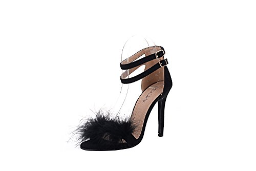 Mila Lady (EILEEN18) Sexy Feather Ankle Strap Open Toe Stiletto Lady Heeled Sandal, BLACK5.5 (5 Inch Sexy Open Toe)