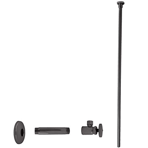 """Westbrass Flat Head Toilet Kit with Round Handles, 1/2"""" IPS x 3/8"""" OD x 20"""", Oil Rubbed Bronze, D103KFH-12"""