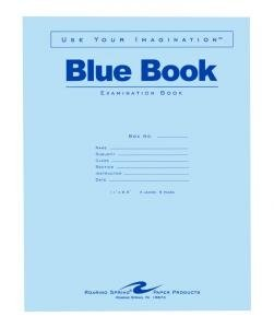 Bulk Exam Blue Books 4 Sheet/8 Page, Wide Margin 11''x8.5'': Roaring Spring 77515 (600 Exam Books)