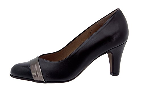 Calzado mujer confort de piel Piesanto 5204 salón zapato vestir cómodo ancho Caoba
