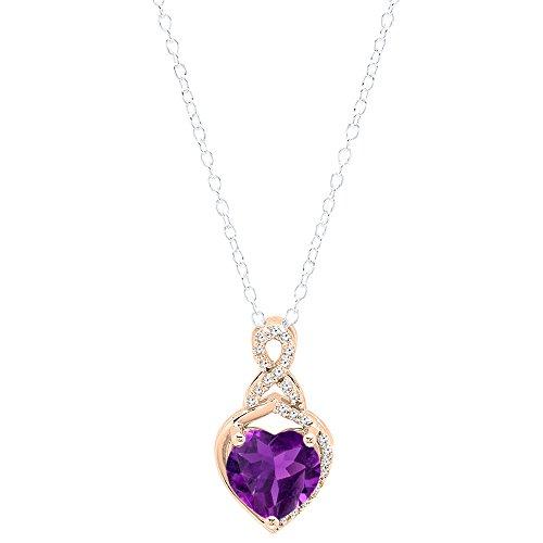 18k White Gold Amethyst Pendant (18K Rose Gold 8 MM Heart Shaped Amethyst & Round White Diamond Ladies Heart Pendant)